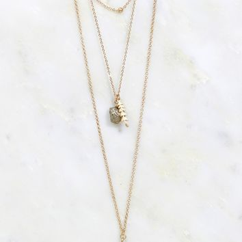 Stone and Feather Layered Necklace Gold