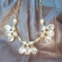 J. Crew Triple Clear Crystal Stone Cluster Statement Necklace