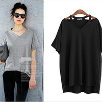 Plus Size Casual Short Sleeves Pure Color Blouse