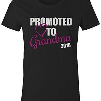 Shirts By Sarah Women's Promoted To Grandma 2018 T-Shirt New Grandparents Baby Reveal
