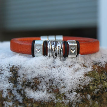 Burnt orange licorice leather bracelet, handmade item, leather supplies