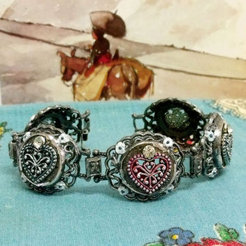 Vintage lacy Viana Hearts Portuguese bracelet rhinestones filigree style Portugal jewelry