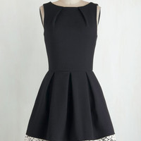 Mid-length Sleeveless Fit & Flare Luck Be a Lady Dress in Black and Lace