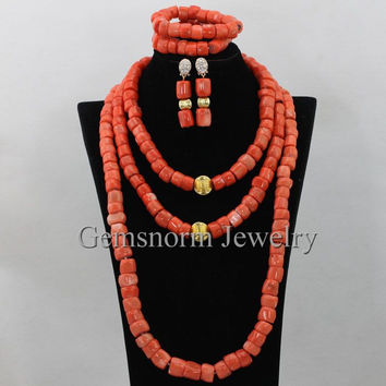 Luxury African Big Coral Beads Jewelry Set Traditional Nigerian Wedding Coral Party Jewelry Set for Brides CNR382