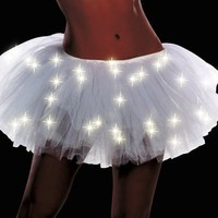 Dreamgirl Women's Light Up Tutu Dress, White, One Size