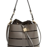 Salvatore Ferragamo 'Sansy' Cutout Leather Bucket Bag - Grey