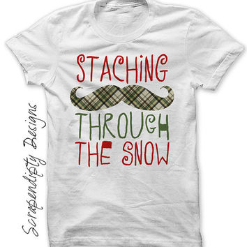 Iron on Winter Shirt PDF - Christmas Iron on Transfer / Staching Through the Snow / Kids Christmas Outfit / Boys Christmas Shirt IT507-P