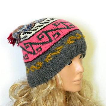 Hand Knit Hat- Womens Tribal hat - Winter hat - Womens Beanie - Winter Women Leaf Hat - Slightly Slouchy Hat - Grey and pink Hat, slouch