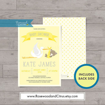 Yellow Baby Shower Invitation, Stork Baby Shower, Gender Neutral Baby Shower Printable Invitation, Printable Baby Shower Invites, Baby Bear