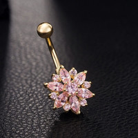 Gold Plated Rhinestone Body Piercing Belly Ring Bars Barbells Button Navel Flower Cluster 1pc