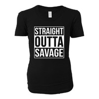 Straight Outta Savage City. Cool Gift - Ladies T-shirt