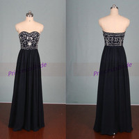 Floor length navy chiffon bridesmaid dresses,affordable embroidery prom dress on sale,chic women gowns for graduation party.