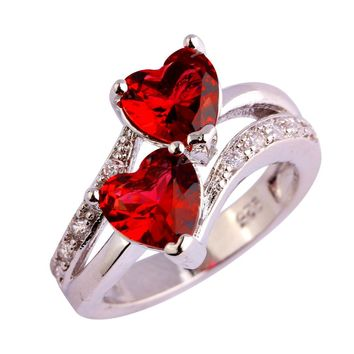 Red Ruby Spinel 925 Sterling Silver Double Heart Design Ring