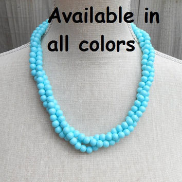 Turquoise pearl necklace, great for Wedding, Bride, Bridal, Birthday gift, Christmas, Anniversary, Valentine, Mother day, Friends gift