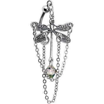 Handcrafted Aurora Delicate Dragonfly Top Mount Dangle Belly Ring