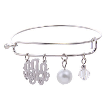 ( 2-Days FREE SHIPPING) Stainless Steel Monogram Initial Charms Alloy Bangle Bracelet