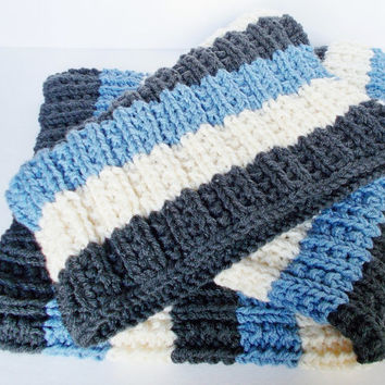 Hand Knit Baby Blanket, Girl or Boy, Ready To Ship, Car Seat, Stroller, Baby Shower Gift, Chunky Knit Baby Afghan, Gray Blue Ivory Stripes