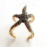 Womdee(TM) Trendy Vintage European Fashion Style Starfish Cuff Ring Finger Ring Chirtmas Gift-Bronze With Womdee Accessory Necklace