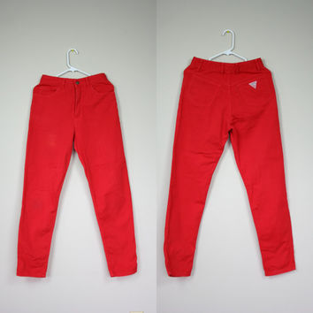 1990's red Guess jeans high waist denim pants faded acid wash red Georges Marciano cotton mom jeans size 30 Medium size 8