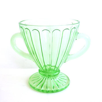 Green Depression Glass Sugar Bowl Vintage by CarpeDiemTreasures