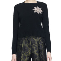 Brooch-Embellished Knit Sweater, Size:
