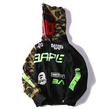 Bape Aape Autumn And Winter New Fashion Letter Pattern Print Camouflage Women Men Hooded Long Sleeve Sweater Coat