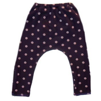 Baby Girls' Purple Leggings with Pink Polka Dots