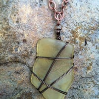 Yellow Vintage Glass Wire Wrapped with Antique Copper Chain