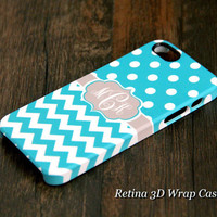 Turquoise Polka Dots Chevron Monogram iPhone 6 6 Plus 6 5S 5C 5 4 Protective Case #962