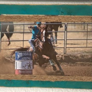 Rustic, Teal, Picture Frame, Refurbished Pallet Wood, Hand Made, Gift