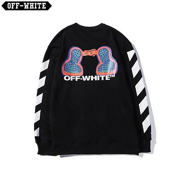 OFF-WHITE 2019 new character printing fashion high street round neck sweater Black