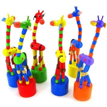 Kids Educational Toys Multicolor Dancing Standing Rocking Giraffe Wooden Toys for Children Wooden Spring Swing Baby Giraffe 0-3Y
