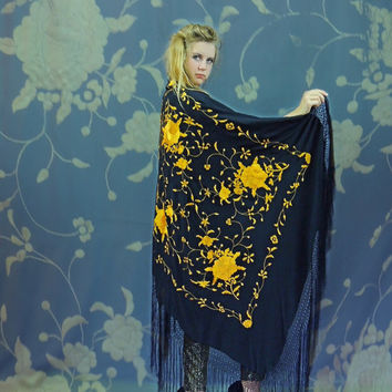 Large silk embroidered piano shawl / fringed square black with yellow gold floral oriental wrap / Dramatic boho hippie