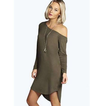 Irregular Strapless Long Sleeve One Piece Dress [7322411777]