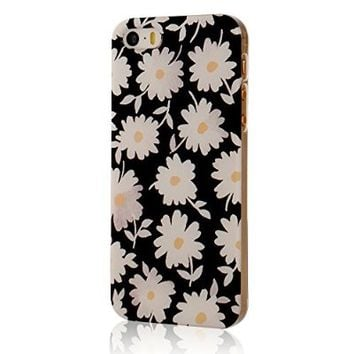 MOLLYCOOCLE Painted Series PC Case White Flower Pattern Cover Black Skin Shell for iPhone 5 5S 5G