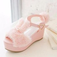 Fuzzy Bunny Wedge Sandals