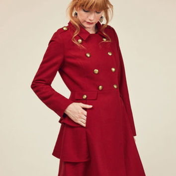 Fame and Flattery Coat in Scarlet | Mod Retro Vintage Coats | ModCloth.com