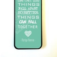 iPhone 5 Case ThinShell Case Protective iPhone 5 Case Marilyn Monroe Quote Love Turquoise