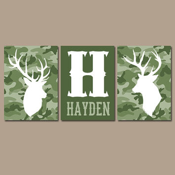CAMO DEER Wall Art, Canvas or Prints, Baby Boy Name Country Nursery Pictures, Big Boy Bedroom, Antlers Rustic Decor, Set of 3 Green