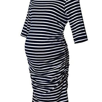 Maternity Dress Striped Ruched Fitted 34 Long Sleeve Bodycon Belly Midi Knee Length Dress
