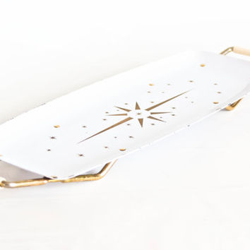 Vintage Atomic Era Serving Tray, Gold and White Starburst Coffee Table Tray, Mid Century Home Decor