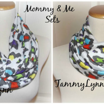 Mommy & Me Rainbow Leopard Animal Print Infinity Scarf READY to SHIP Soft Cotton Rayon Women's Girls Accessories