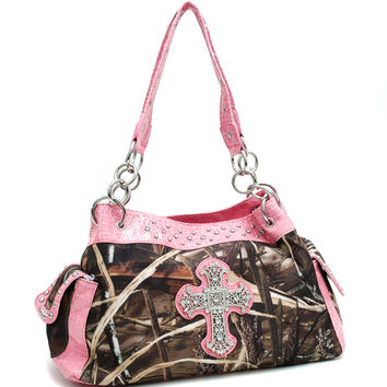 Realtree Camouflage Handbag With Rhinestone Cross - 13246