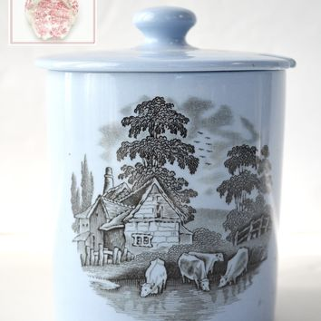 Spode Copeland Black Transferware Jam Pot Mustard Jar Cattle Rural Scenes on Baby Blue Earthenware
