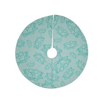 "KESS Original ""Lotus Pattern - Teal"" Yoga Flowers Tree Skirt"