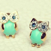 ]GREEN OWL EARRINGS