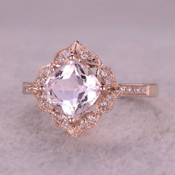 6mm cushion morganite engagement ring rose golddiamond wedding bandpromise ringbridal - Custom Made Wedding Rings