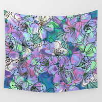 Little Purple Flowers Wall Tapestry by Klara Acel