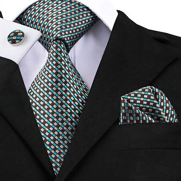 Men's Silk Coordinated Tie Sets - Brown, Beige, Teal Squared