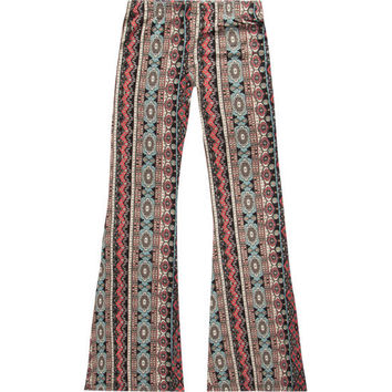 Full Tilt Vertical Medallion Girls Flare Pants Multi  In Sizes